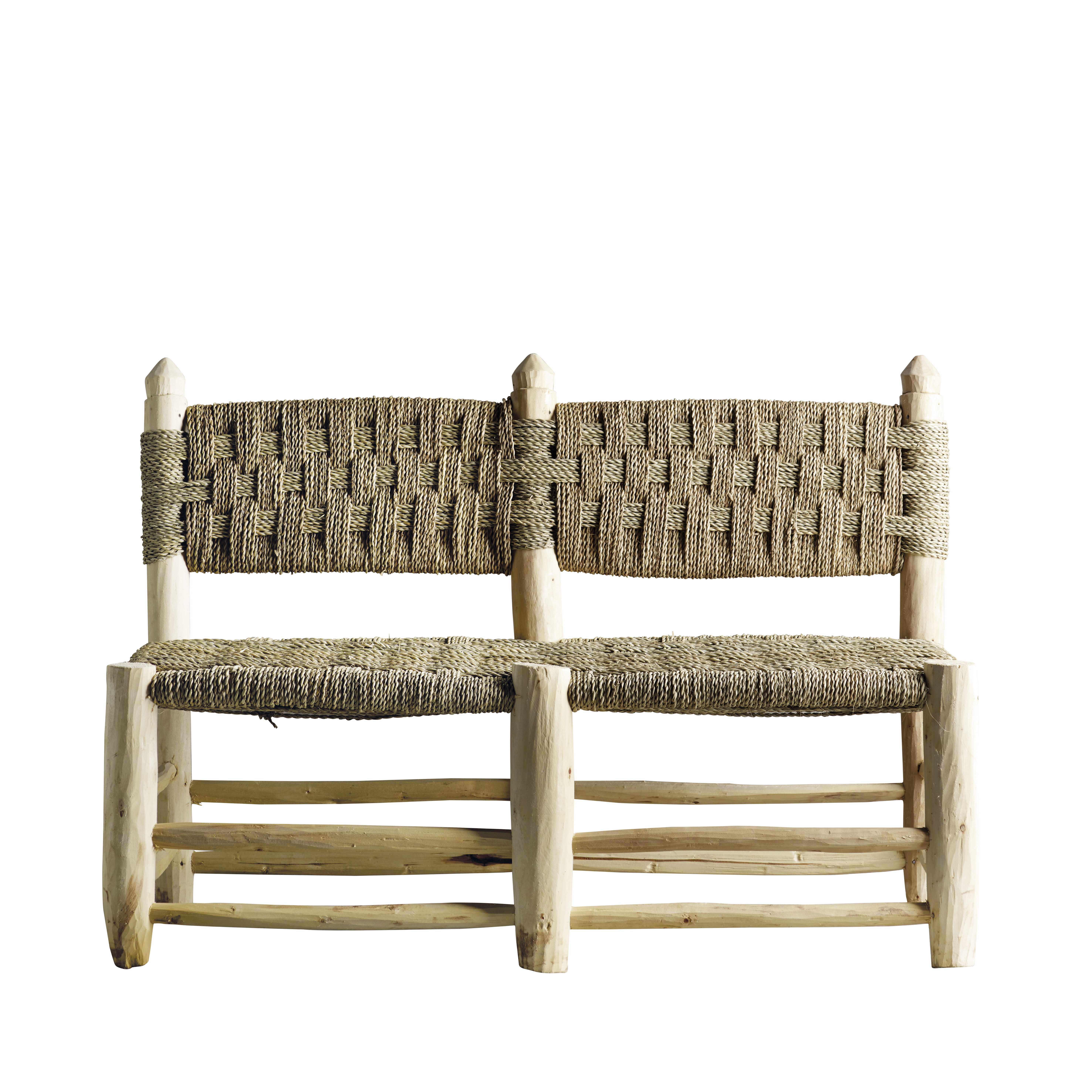 Handmade Bench In Wood With Seat Woven From Palm Leaves
