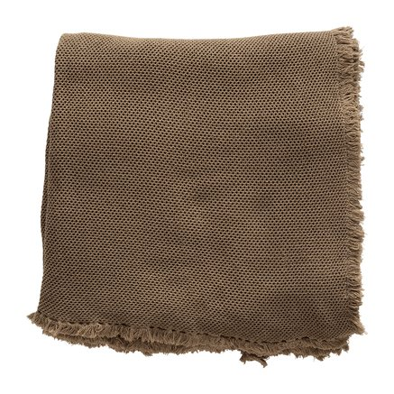 Bed throw, honeycombed, 260x260 cm, cotton, walnut