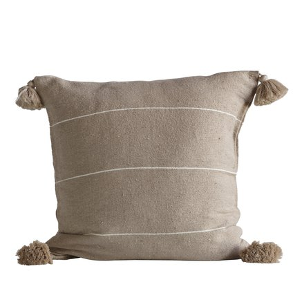 Cushion cover w/tassels,60x60 cm,100% cotton,camel