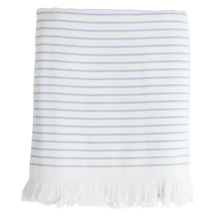 Large Towel With Blue White Stripes And Fringes