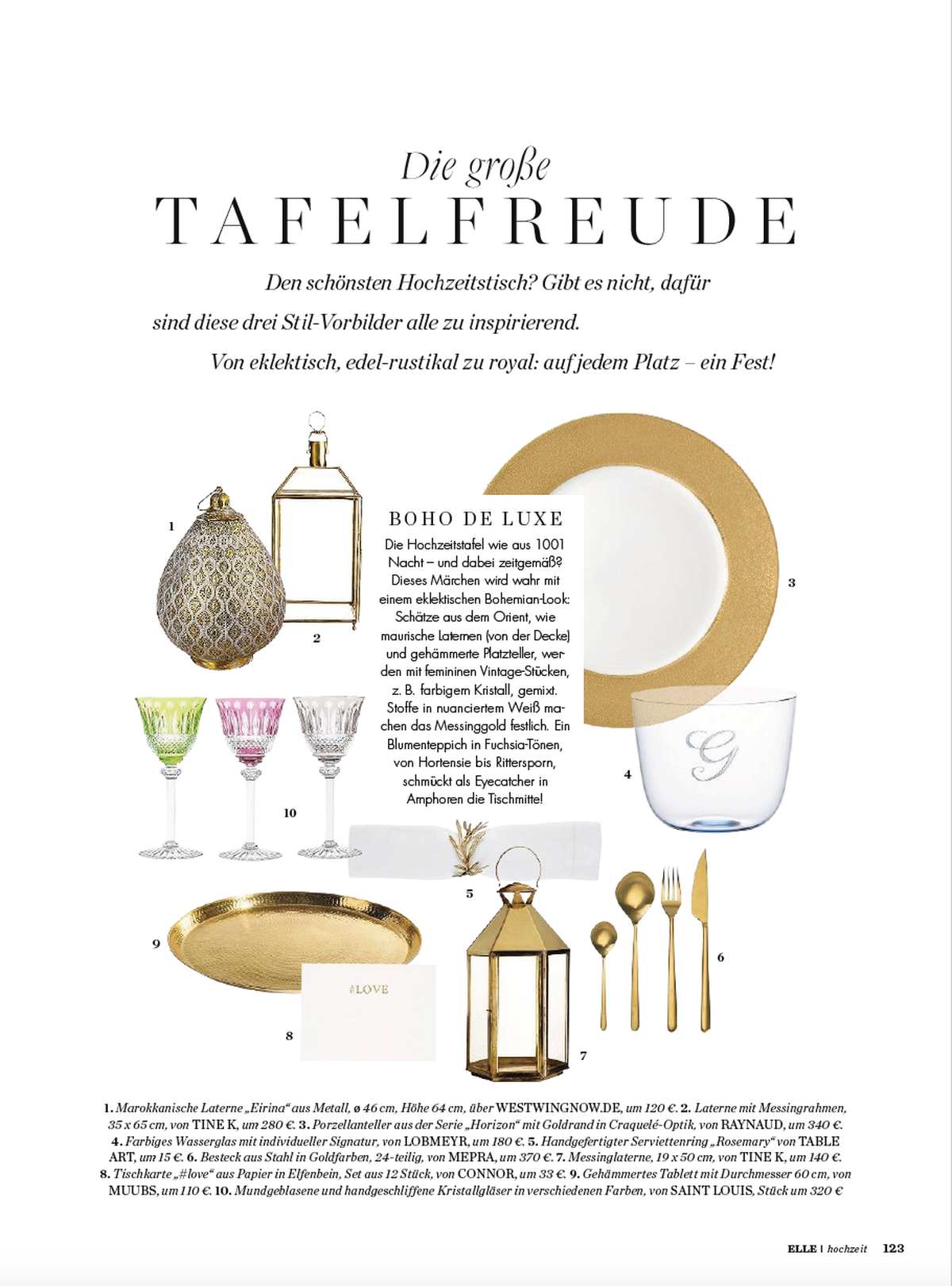 Tinekhome lanterns in German ELLE magazine