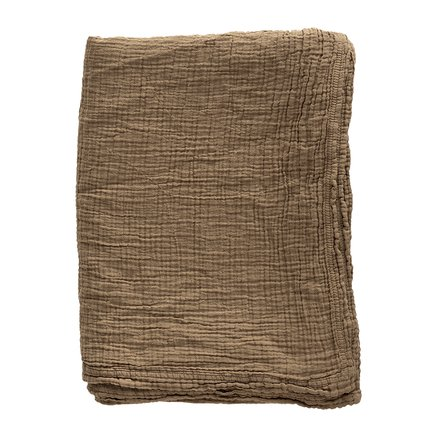 Bed throw, solid col, 190 x 260 cm, cotton, walnut