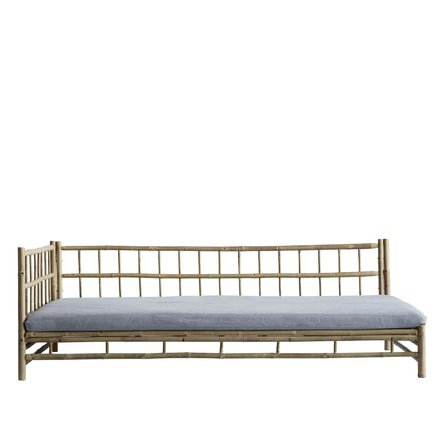 Bamboo lounge bed with grey mattress, left