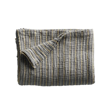 Bed throw in fine woven and stribed texture, 140 x 220 cm, phantom