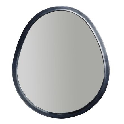 Egg shaped mirror in oxidized brass frame, size XXL