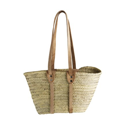 Hand bag in straw with long leather handles, nature