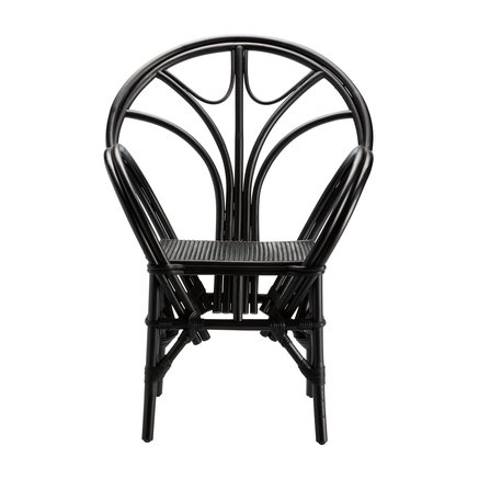 Dining chair in rattan with armrest, black
