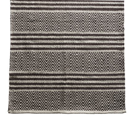 Carpet with hand woven pattern in herringbone and stripes, 80 x 400 cm