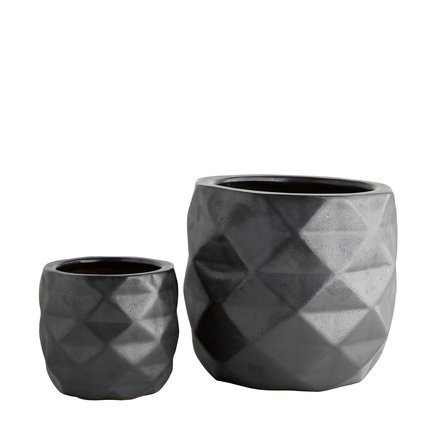 Ceramic pot, w. facet, set of 2, phantom