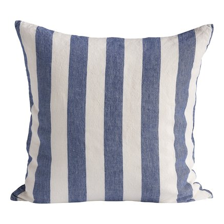 Cushion cover, striped, 50x50 cm, 100%linen,indigo