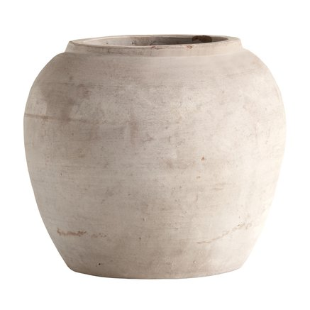 Jar in clay, XL, D 75xH68 cm, sand
