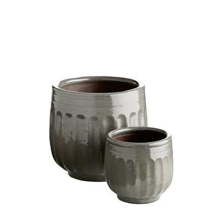 Pot in ceramic, w. grooves, set of 2, S, fungi