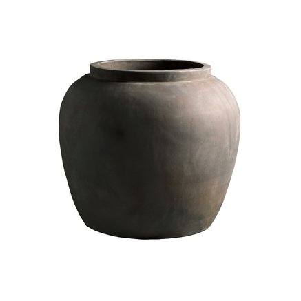 Jar in clay, XL, 50 x H 45 cm, smoke