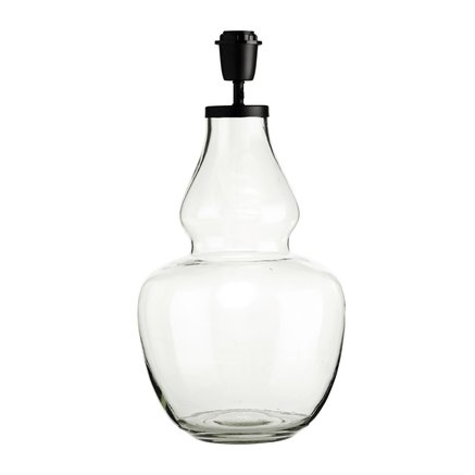 Glass lamp w. black top, D 25 x H 50 cm, clear