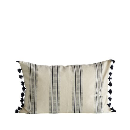 Cushion cover, w. tassels, 40x60 cm, bomuld, navy