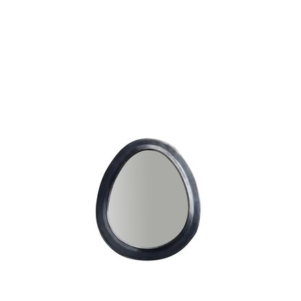 Egg shaped mirror in oxidized brass frame, size S