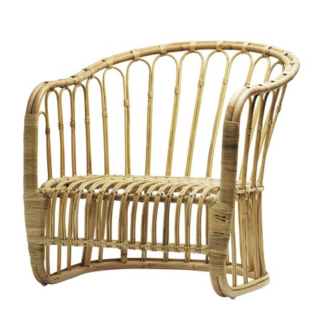 Lounge chair in rattan, 80 x 82 x H 35/82 cm, nature