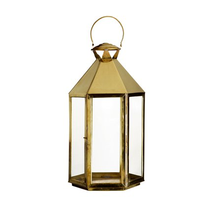 6 sided glass lantern, 35 x 35 x 65 cm, brass