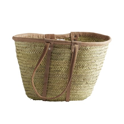Shopping basket w. long leather handles, natural