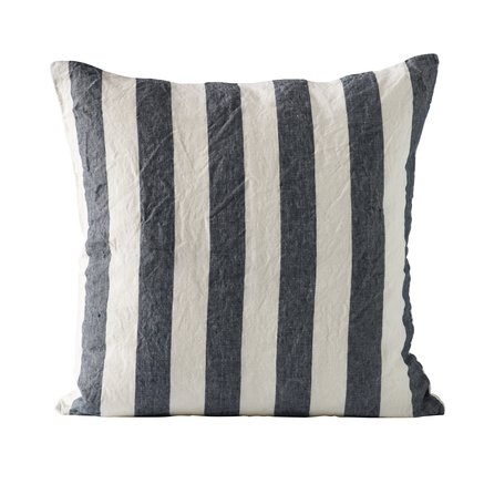 Cushion cover, striped, 50x50 cm, 100% linen, navy
