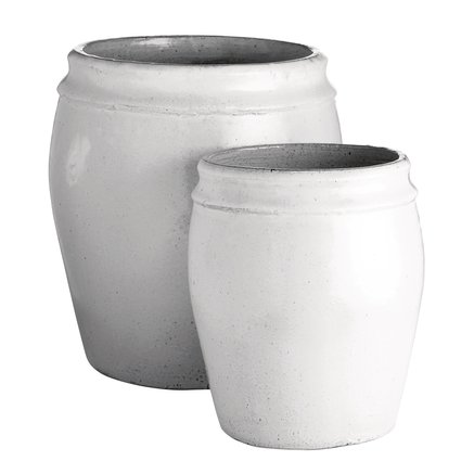 Garden pot in ceramic, set of 2, XL, hvid