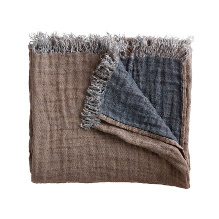 Double sided linen throw, camel/navy