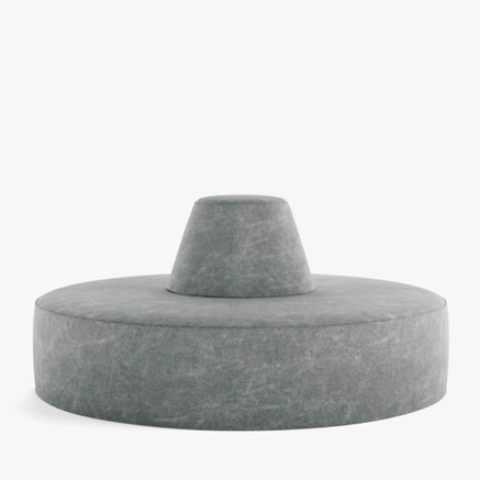 Pouf w. backrest ,circle,dia.160xH75 cm,linen,grey