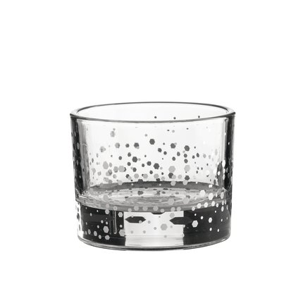 Candleholder in glass with silver dots