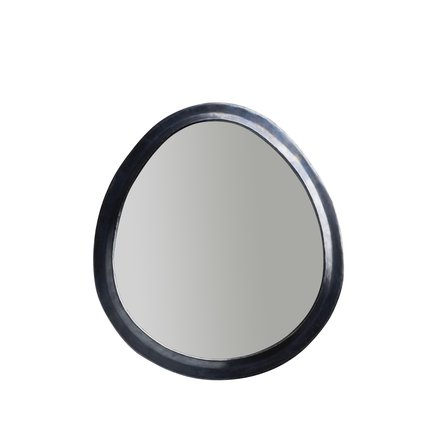 Egg shaped mirror in oxidized brass frame, size L