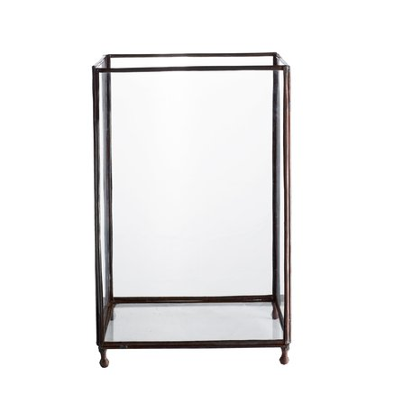 Square glass lantern, medium