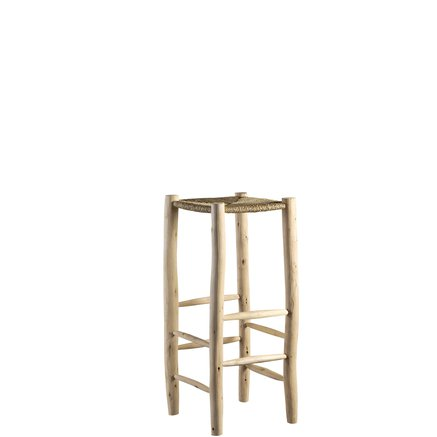 Bar stool in palm leaf/wood, 35 x 35 x H 80 cm