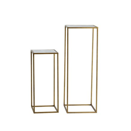 Flower tabels, metal w. mirror top, set of 2, honey gold