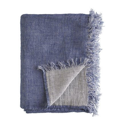 Throw, 140x220 cm, linen, OEKOTEX, indigo/white