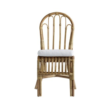 Dining chair in rattan, no arm rest with mattress and cushion, white