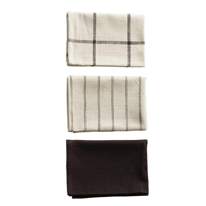 Kitchen Towel 60x80 Ass Stripe Check Plain Black