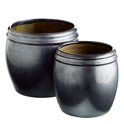 Pot in ceramic, matt, set of 2, L, phantom