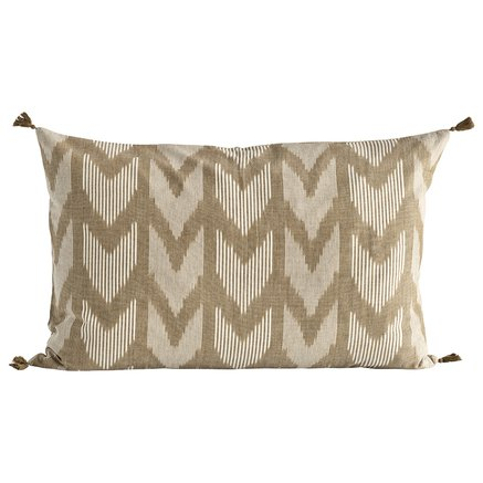 Cushion cover, w. tassels, 50 x 75 cm, cotton, walnut