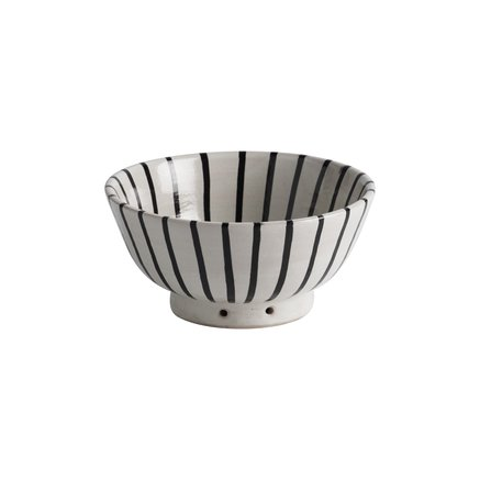 Handmade ceramic bowl with stripes, D 18 x H 9, black