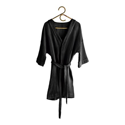 Bath robe in soft cotton with woven checkered pattern, phantom