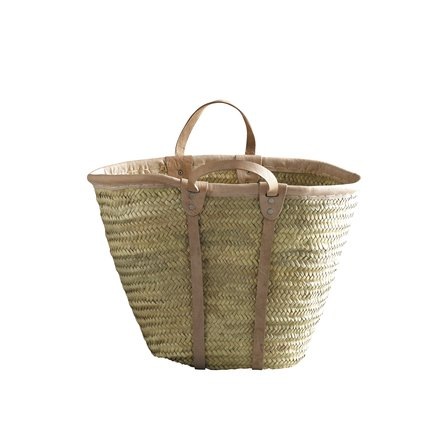 Shopping basket w. leather band/handles, natural