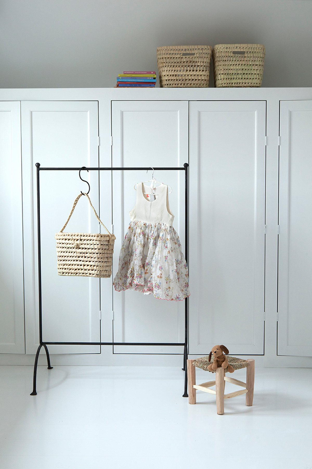 storage for cloths and toys. Baskets and rails for kids room.