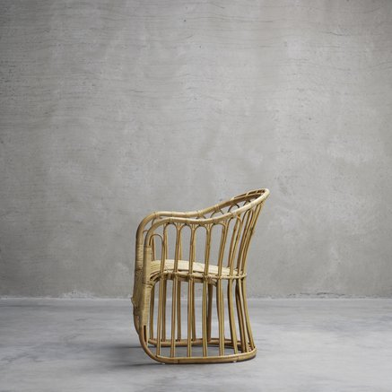 Dining chair in rattan, w. arm rest, 65 x 70 x H 42/85 cm, nature