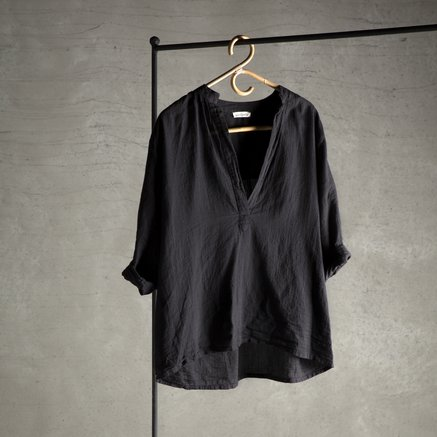 Bluse, 100% bomuld, one size, black