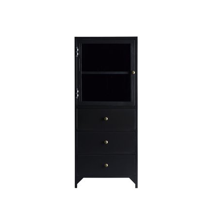 Metal cabinet with glass door and 3 drawers