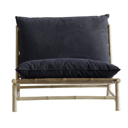 Bamboo lounge chair w. cushions W100x87xH45/80cm
