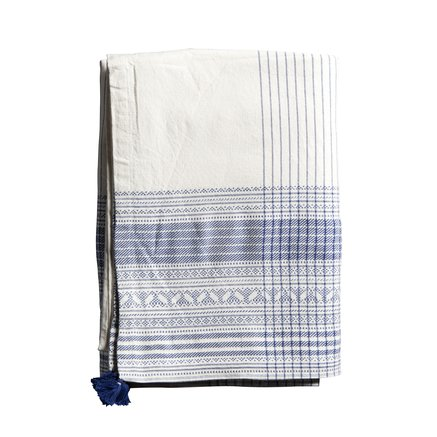 Table cloth, w. dobby border, 170 x 250 cm, cotton, azul