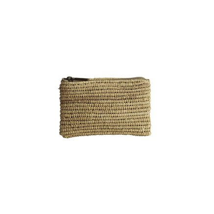 Wallet in woven bast string with Liberty lining, pink