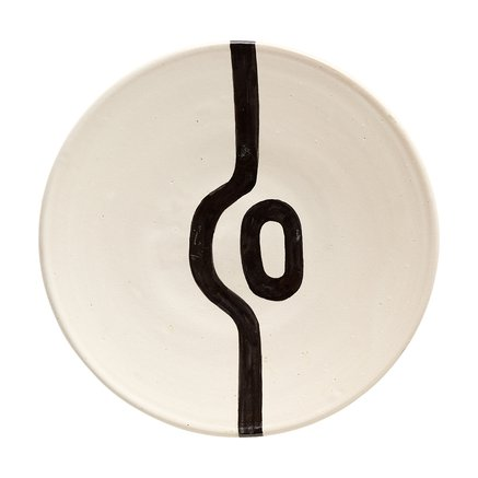 Plate, hand painted, dia. 25xH4 cm, black