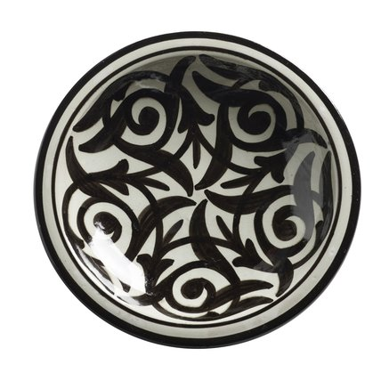 Hand painted ceramic tray with wide black pattern, D 35 cm