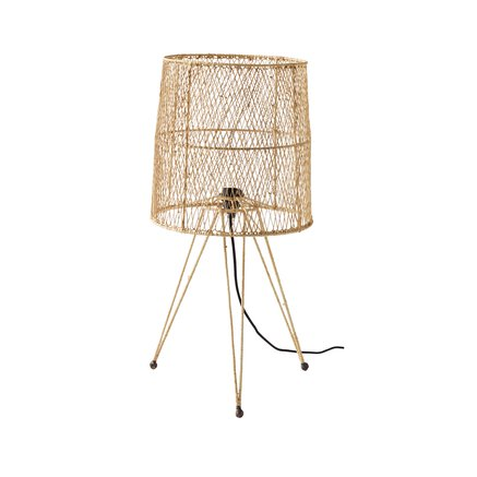 Table lamp in iron/raffia, dia 35xH75 cm, nature